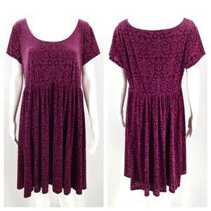 TORRID 2 2X Velvet Burnout Dress Fuchsia Pink